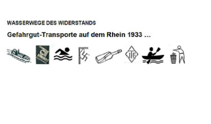 Text Gefahrgut-Transporte auf dem Rhein 1933 mit Symbolen