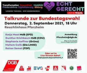 Flyer zu Talkrunde zur Bundestagswahl