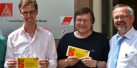 Lars Castellucci und Thomas Funk mit dem DGB-Kreisvorsitzenden Thomas Wenzel